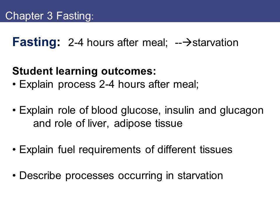Fasting: 2-4 hours after meal; --starvation