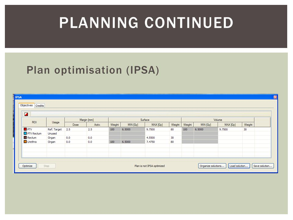 Planning Continued Plan optimisation (IPSA)