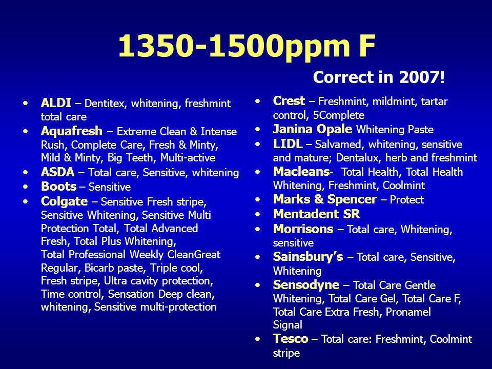 1350-1500ppm F Correct in 2007! Crest – Freshmint, mildmint, tartar