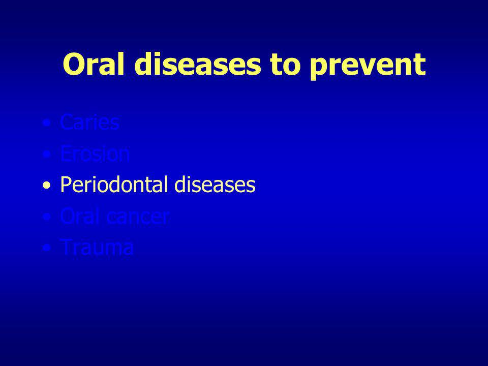 Oral diseases to prevent