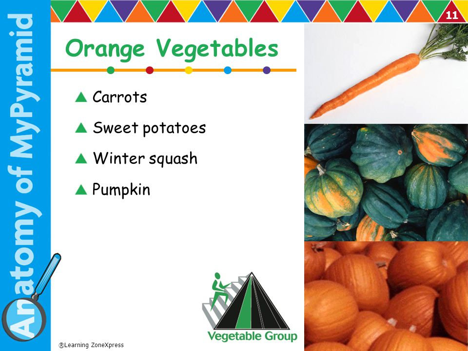 Orange Vegetables Carrots Sweet potatoes Winter squash Pumpkin