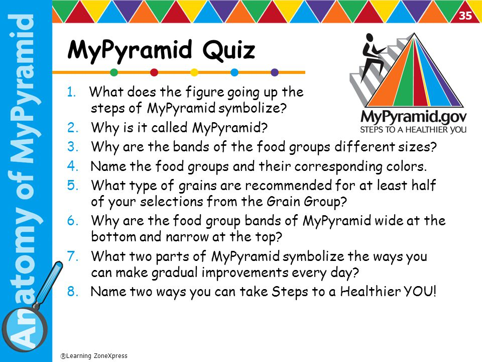 MyPyramid Quiz 1. What does the figure going up the steps of MyPyramid symbolize 2. Why is it called MyPyramid