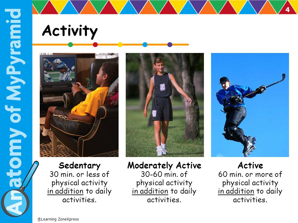 Activity Sedentary 30 min. or less of physical activity in addition to daily activities.