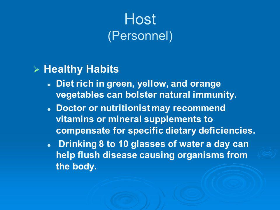 Host (Personnel) Healthy Habits