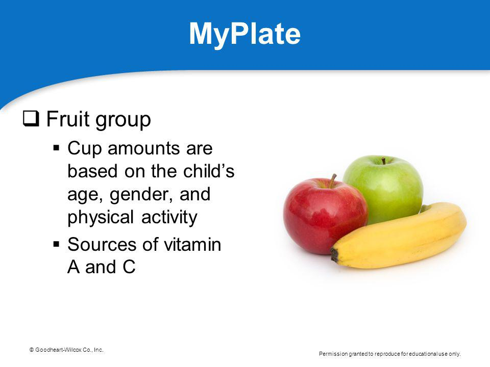 MyPlate Fruit group. Cup amounts are based on the child's age, gender, and physical activity.