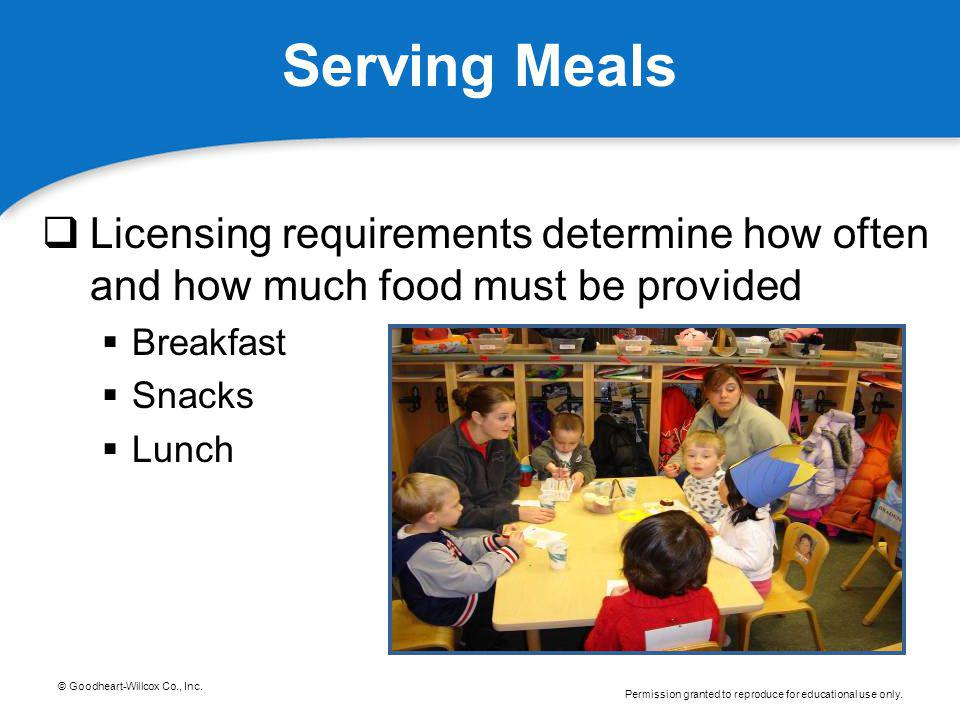 Serving Meals Licensing requirements determine how often and how much food must be provided. Breakfast.