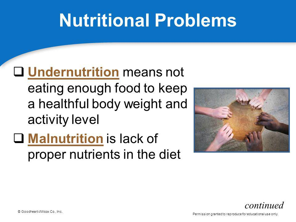 Nutritional Problems Undernutrition means not eating enough food to keep a healthful body weight and activity level.