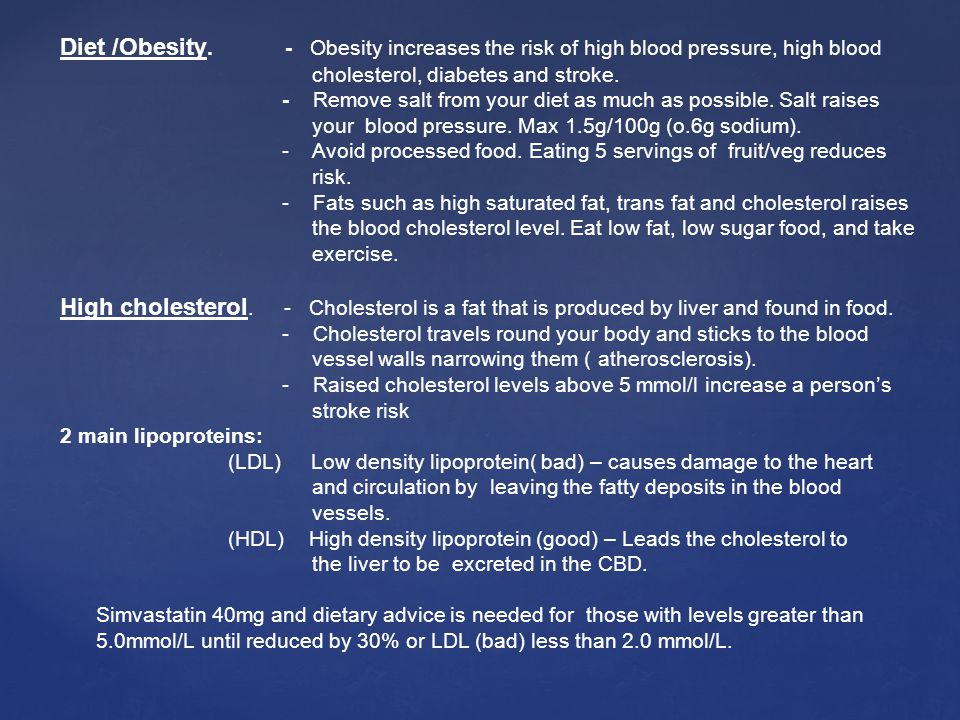 Diet /Obesity. - Obesity increases the risk of high blood pressure, high blood
