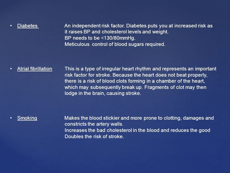 Diabetes An independent risk factor