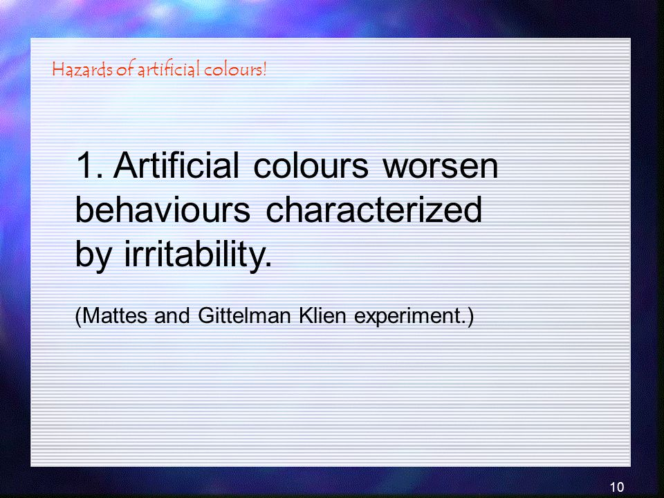 Hazards of artificial colours!
