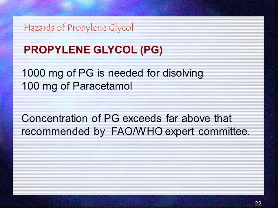 1000 mg of PG is needed for disolving 100 mg of Paracetamol