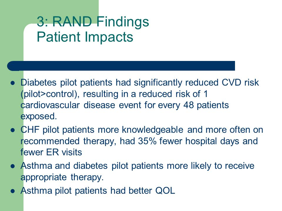 3: RAND Findings Patient Impacts