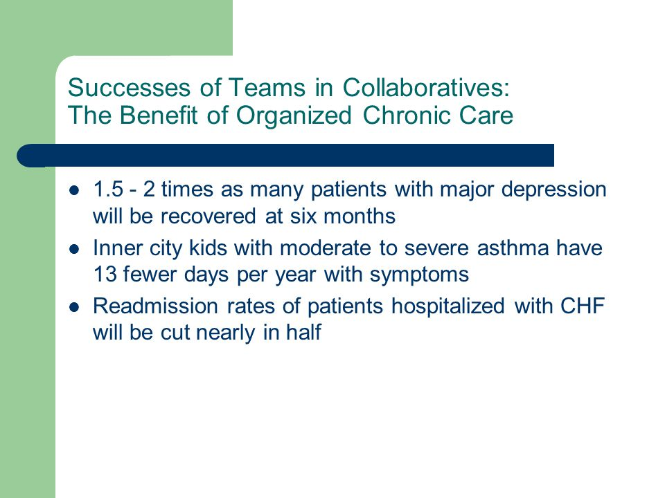 Successes of Teams in Collaboratives: The Benefit of Organized Chronic Care