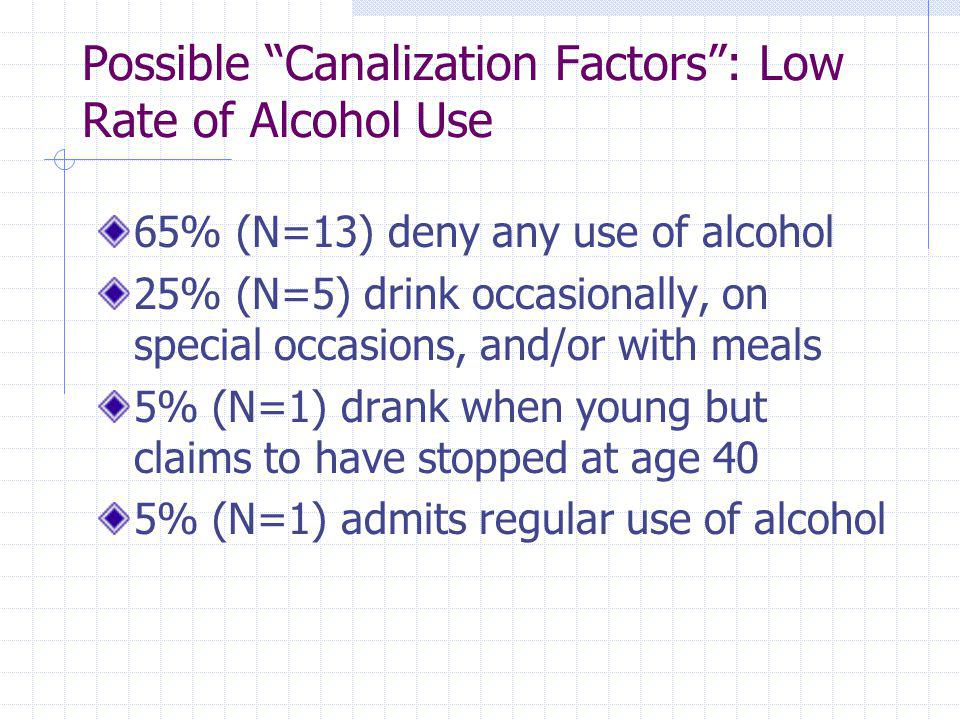Possible Canalization Factors : Low Rate of Alcohol Use