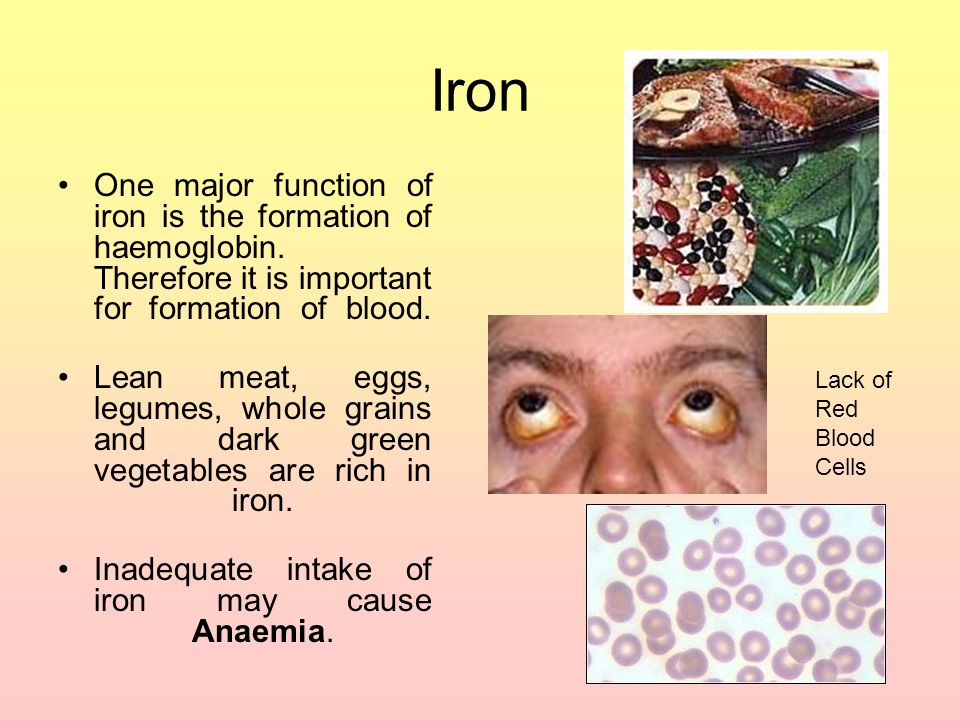 Iron One major function of iron is the formation of haemoglobin. Therefore it is important for formation of blood.