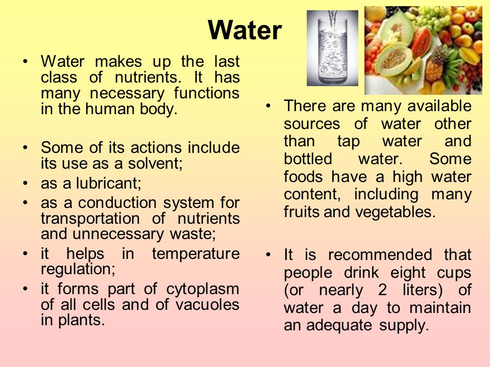 Water Water makes up the last class of nutrients. It has many necessary functions in the human body.