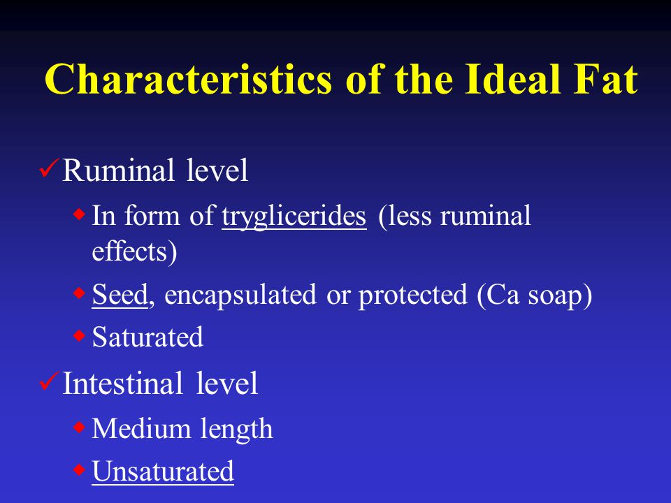 Characteristics of the Ideal Fat