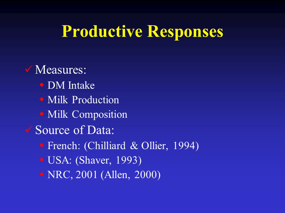 Productive Responses Measures: Source of Data: DM Intake