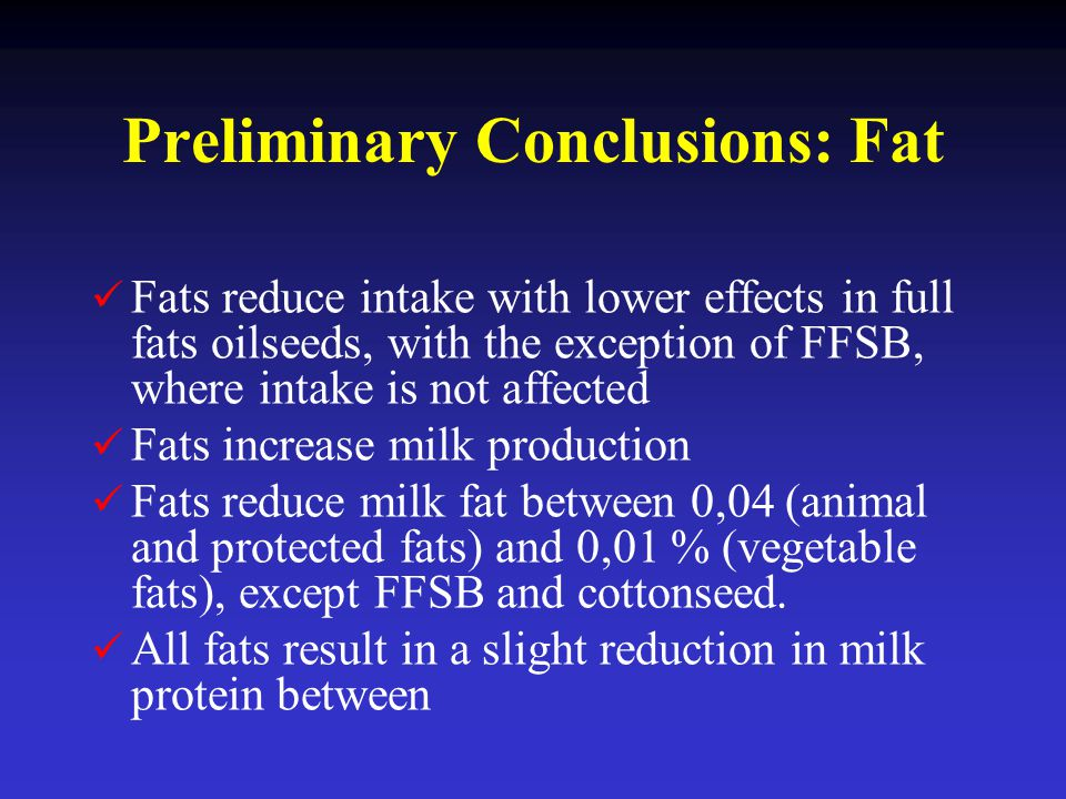 Preliminary Conclusions: Fat