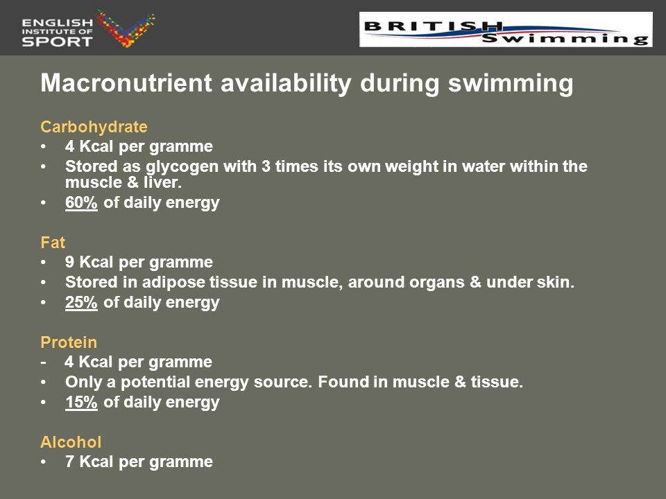 Macronutrient availability during swimming