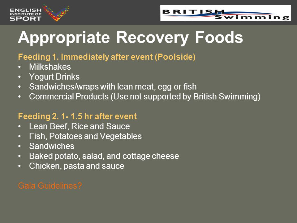 Appropriate Recovery Foods
