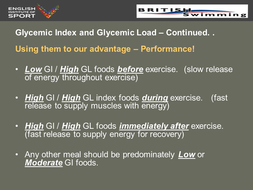 High Gi Foods During Exercise
