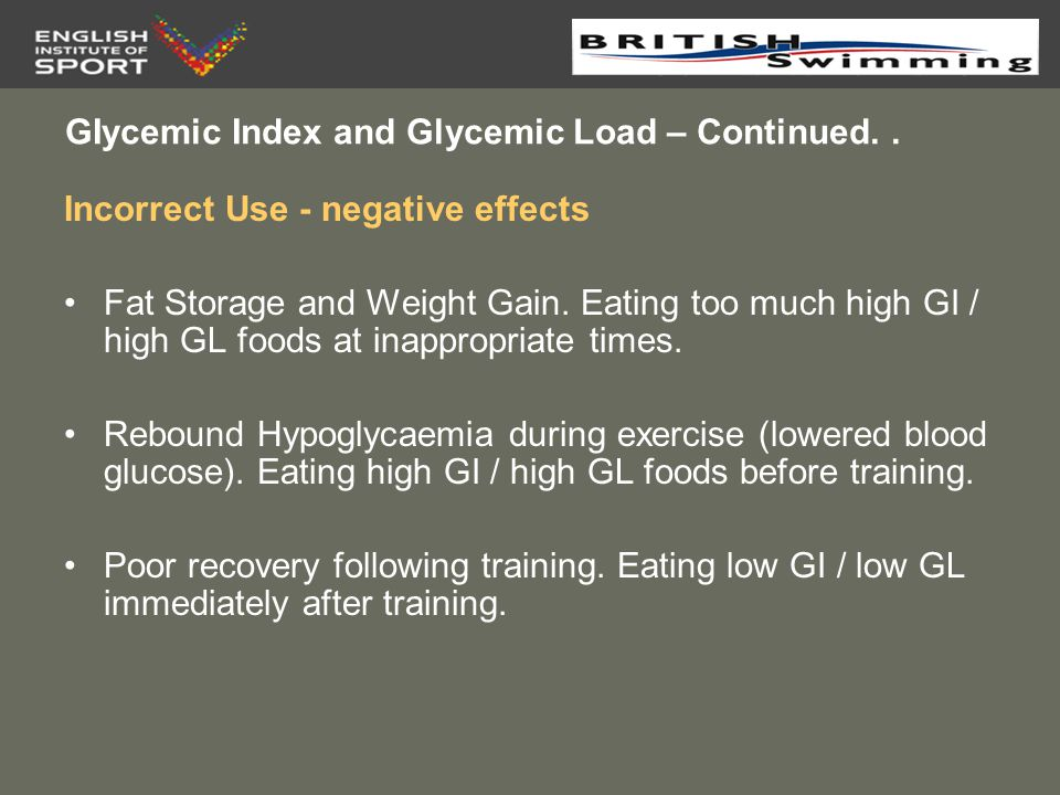 GIycemic Index and Glycemic Load – Continued. .
