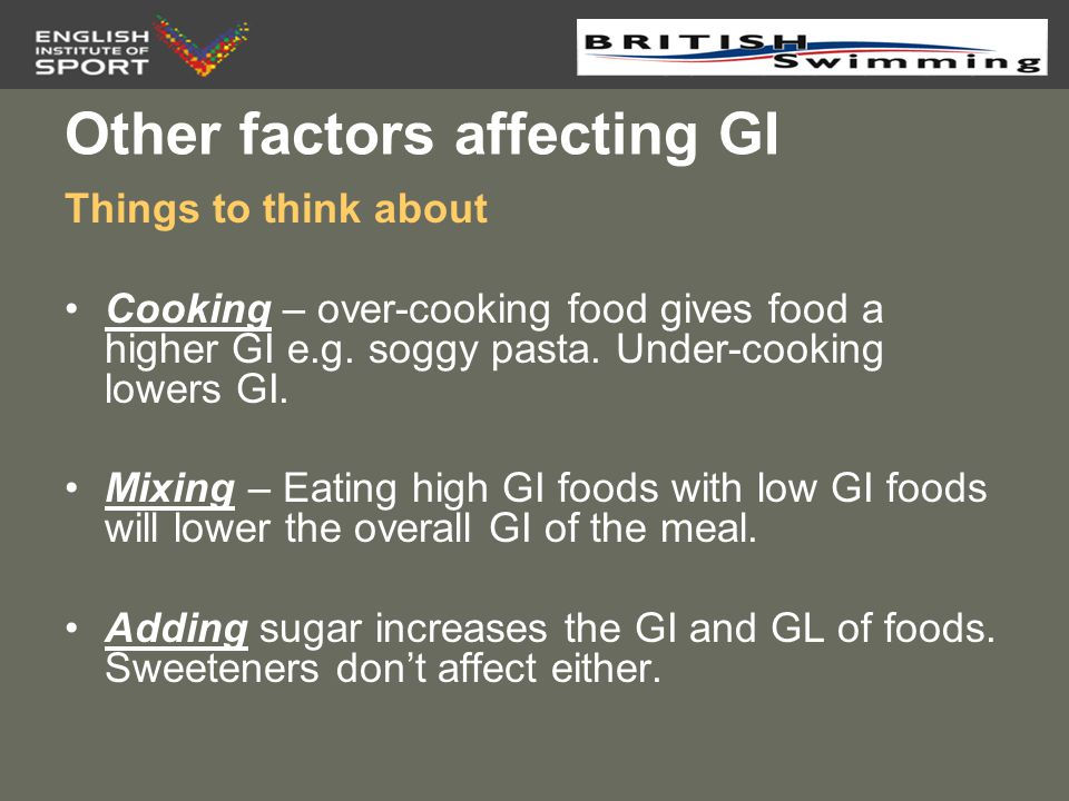 Other factors affecting GI