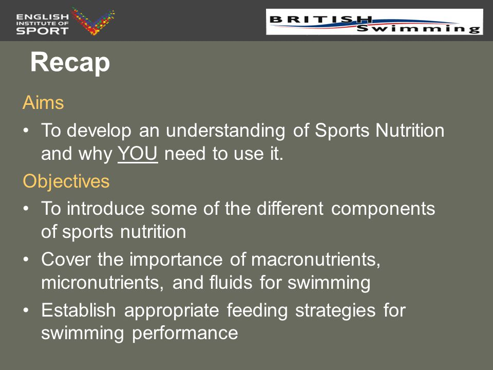 Recap Aims. To develop an understanding of Sports Nutrition and why YOU need to use it. Objectives.