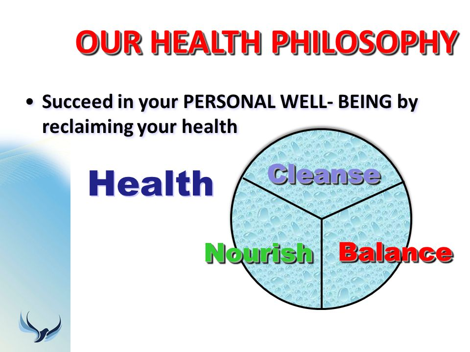 OUR HEALTH PHILOSOPHY Health Cleanse Nourish Balance