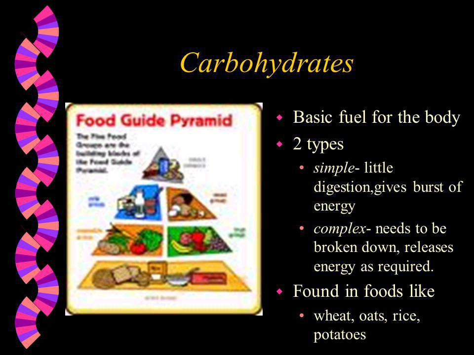 Carbohydrates Basic fuel for the body 2 types Found in foods like