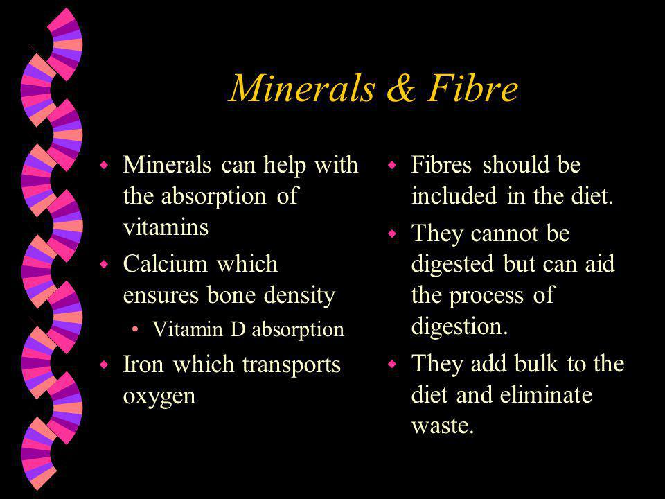 Minerals & Fibre Minerals can help with the absorption of vitamins