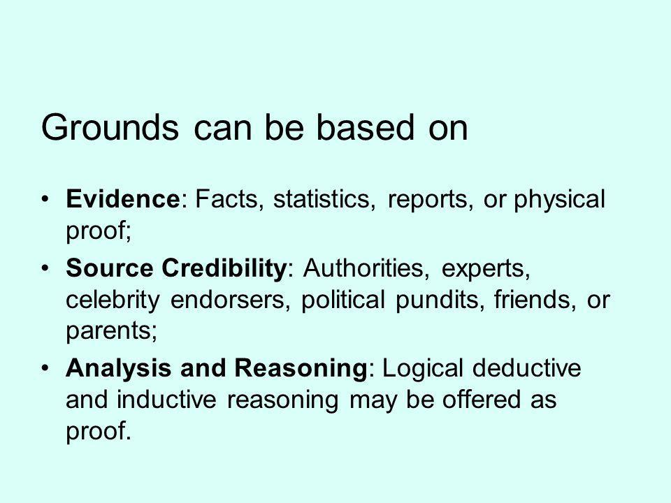 Grounds can be based on Evidence: Facts, statistics, reports, or physical proof;