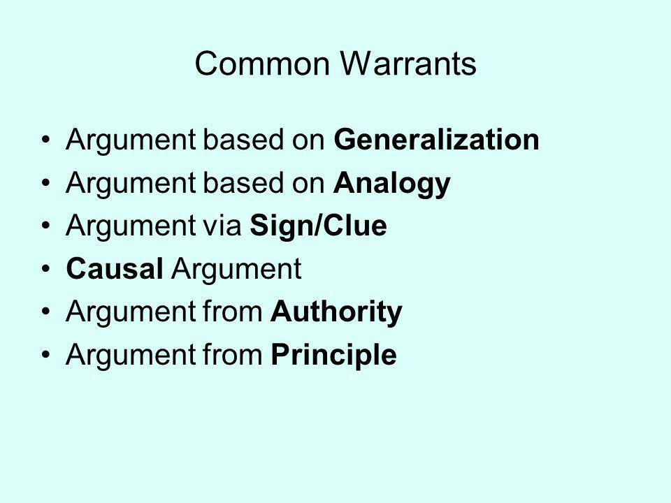 Common Warrants Argument based on Generalization