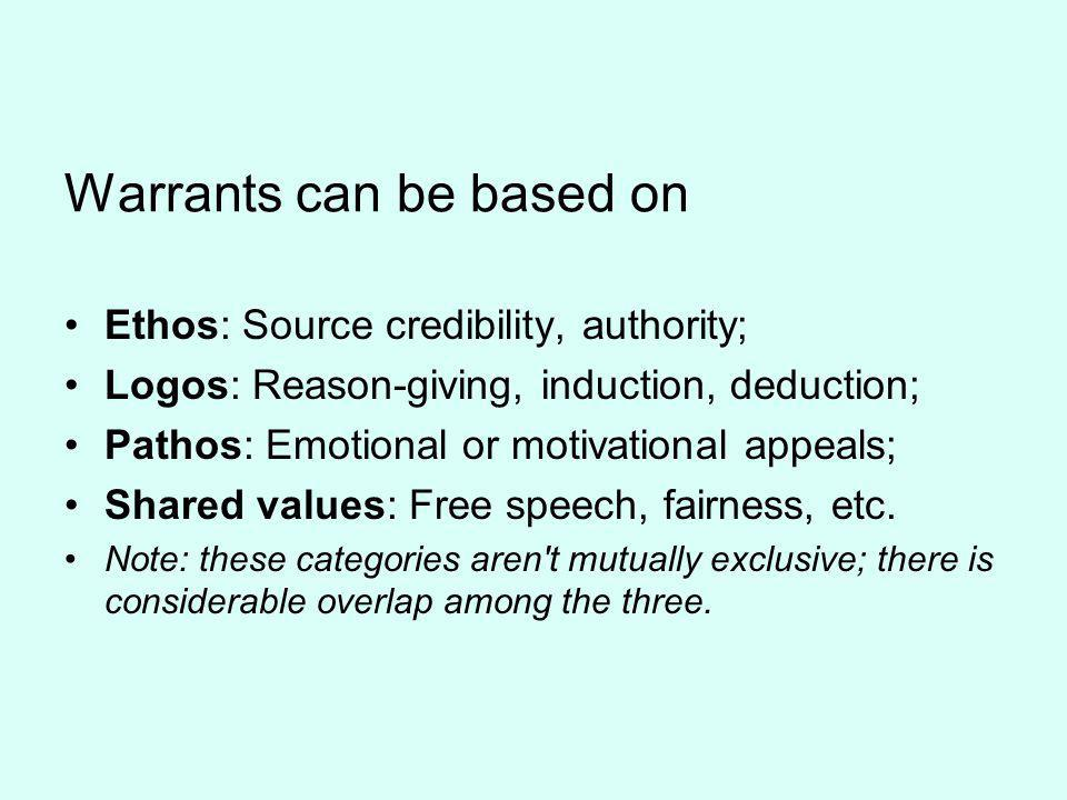 Warrants can be based on