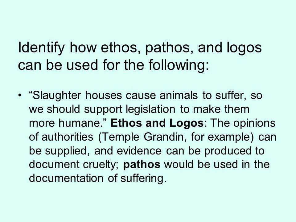 Identify how ethos, pathos, and logos can be used for the following: