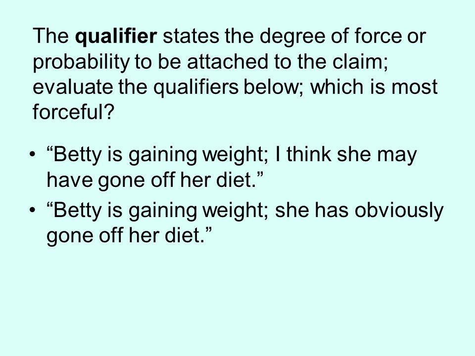The qualifier states the degree of force or probability to be attached to the claim; evaluate the qualifiers below; which is most forceful