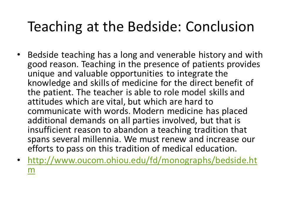 Teaching at the Bedside: Conclusion