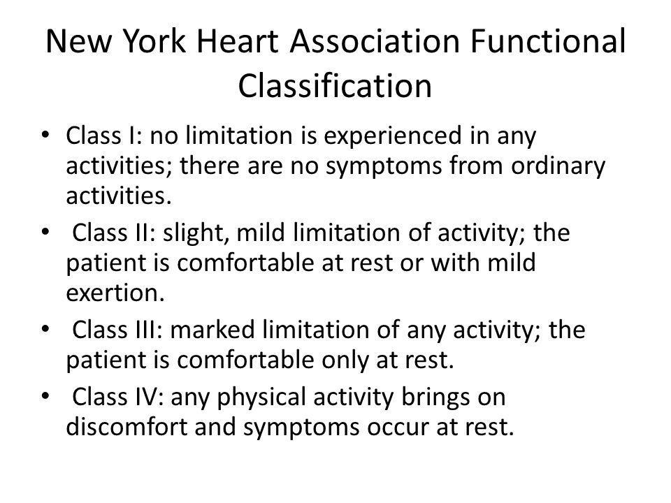 New York Heart Association Functional Classification