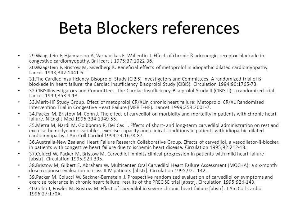Beta Blockers references