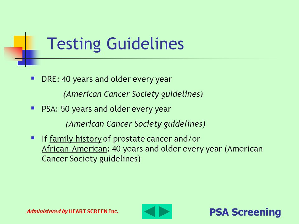 Testing Guidelines DRE: 40 years and older every year