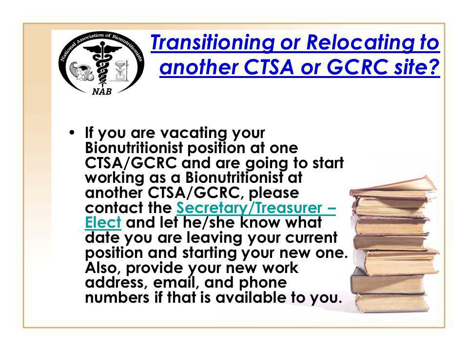 Transitioning or Relocating to another CTSA or GCRC site