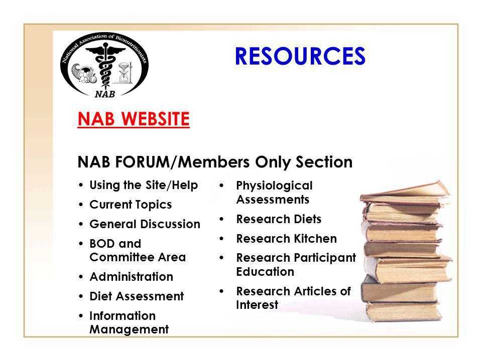 RESOURCES NAB WEBSITE NAB FORUM/Members Only Section