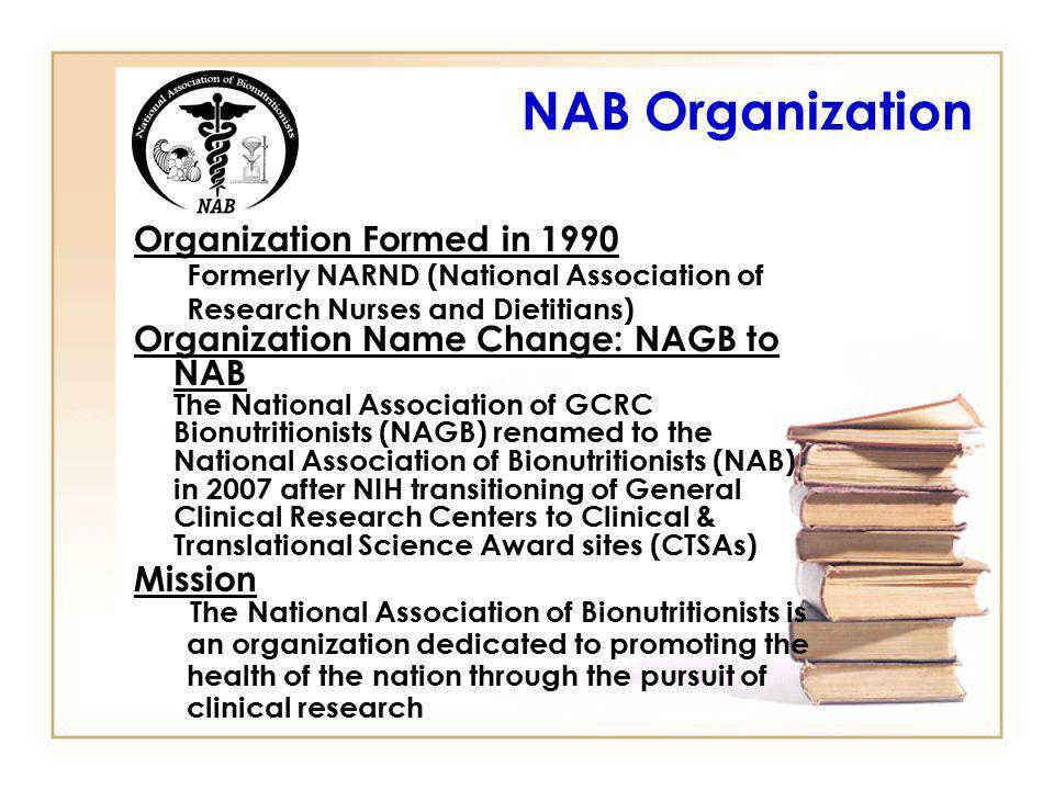 NAB Organization Organization Formed in 1990