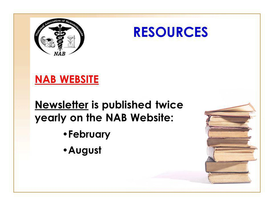 RESOURCES NAB WEBSITE Newsletter is published twice yearly on the NAB Website: February August
