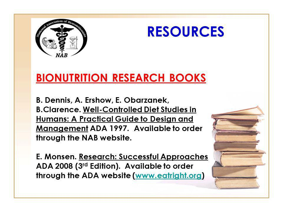 RESOURCES BIONUTRITION RESEARCH BOOKS