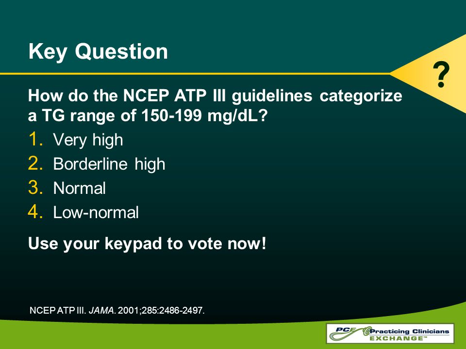 Key Question How do the NCEP ATP III guidelines categorize