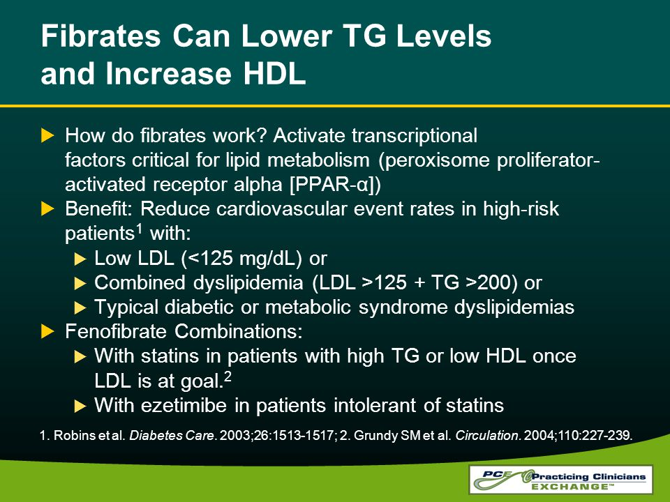 Fibrates Can Lower TG Levels and Increase HDL