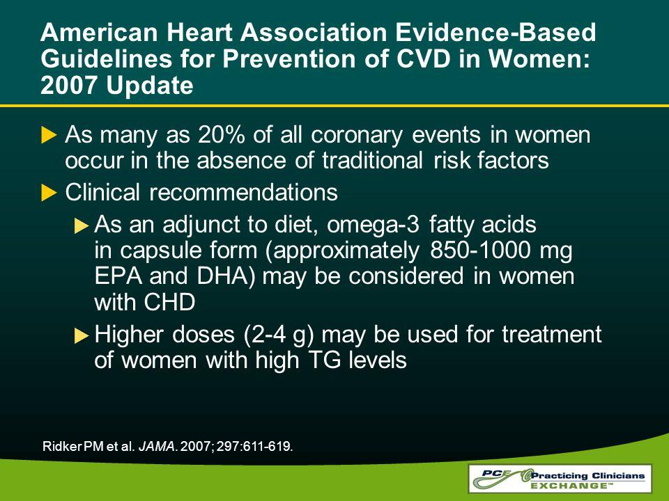 American Heart Association Evidence-Based Guidelines for Prevention of CVD in Women: 2007 Update