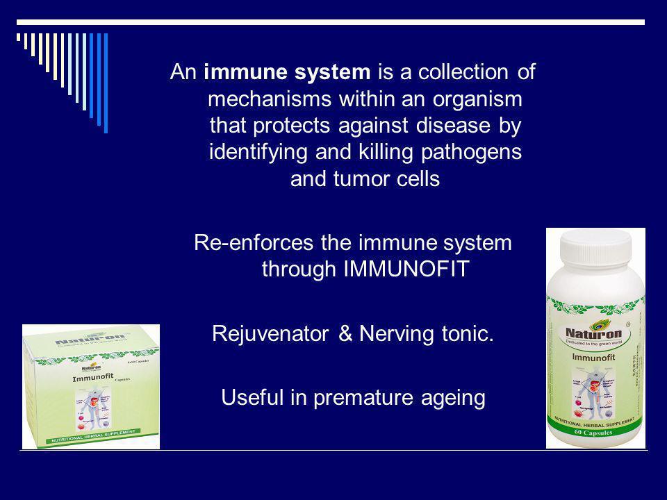 Re-enforces the immune system through IMMUNOFIT